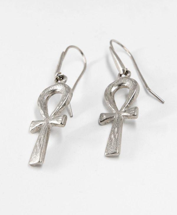 Boucle d'oreille pendante Croix de vie de Cléopâtre récente - Argent - Ben Azri
