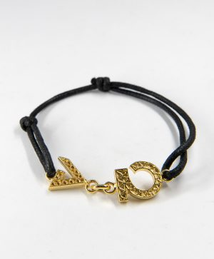 Bracelet Cordon Noir - Force Optimisme- Or - Ben Azri