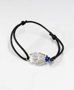 Bracelet Cordon Noir - Scarabée de l'apaisement - Argent - Ben Azri