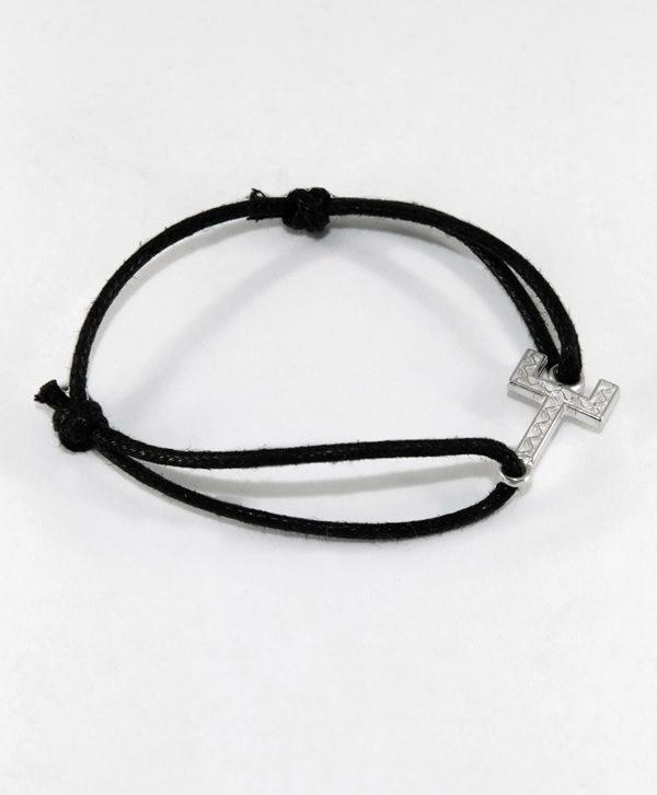 Bracelet Cordon Noir - Courage - Argent - Ben Azri