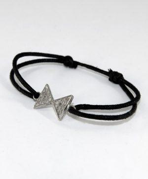 Bracelet Cordon Noir - Equilibre - Argent - Ben Azri
