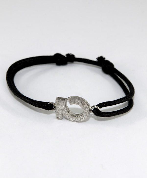 Bracelet Cordon Noir - Optimisme - Argent - Ben Azri