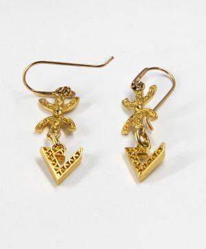 Boucles d'oreilles pendantes - Liberté Force - Or - Ben Azri