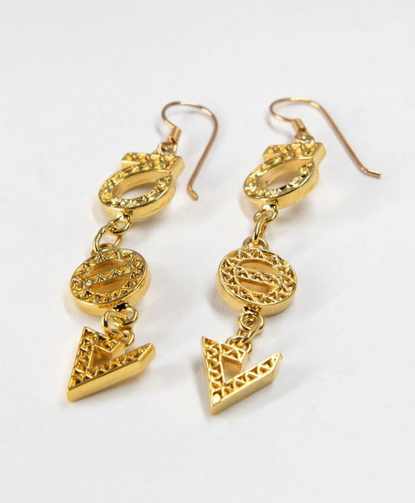 Boucles d'oreilles pendantes - Optimisme Protection Force - Or - Ben Azri