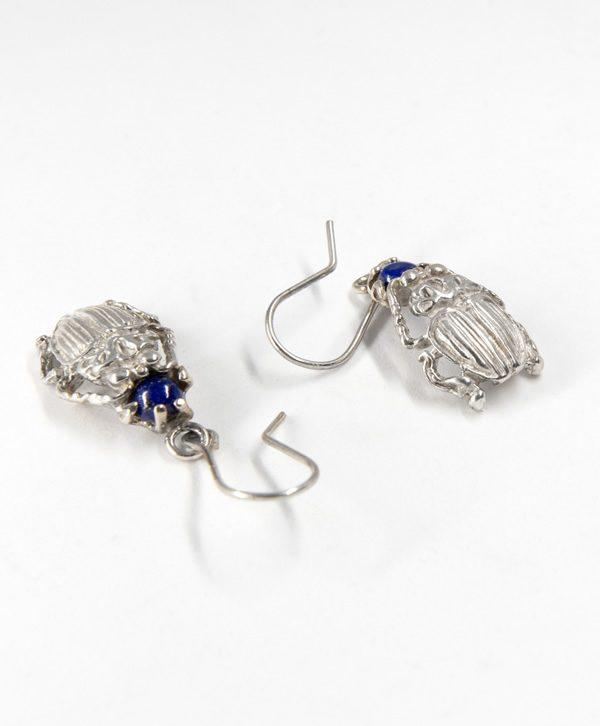 Boucle d'oreille pendante Scarabée de l'apaisement - Argent - Ben Azri