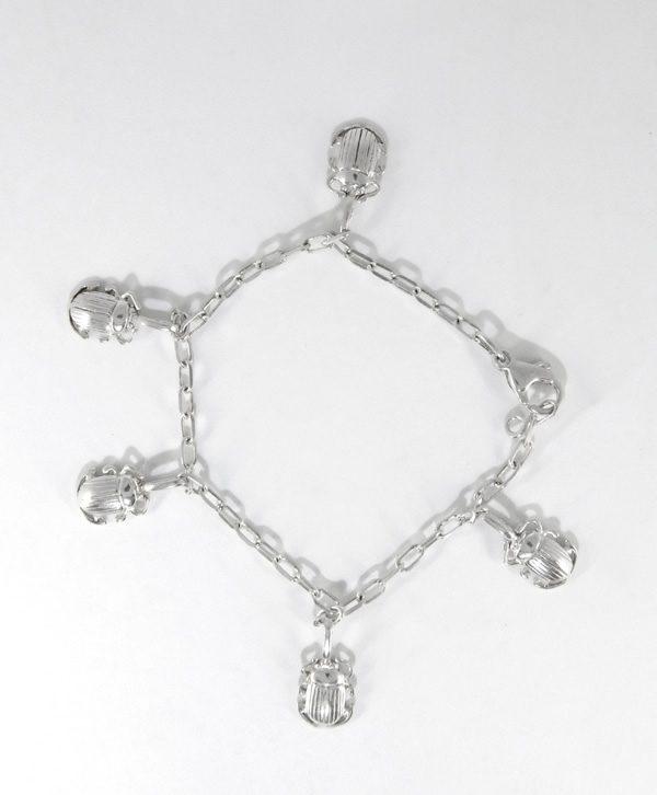 Bracelet Chaine - Les 5 scarabées d'équilibre - Argent - Ben Azri