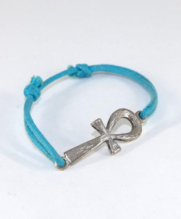 Bracelet Cordon Bleu - Croix de vie de Cléopâtre récente - Argent - Ben Azri