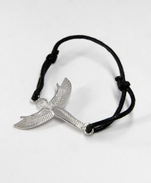 Bracelet Cordon Noir - Isis l'envol - Argent - Ben Azri
