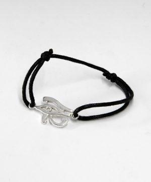 Bracelet Cordon Noir - L'Oeil Horus - Argent - Ben Azri
