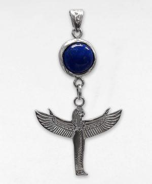 Pendentif Déesse Isis Lapis-Lazuli - L'envol - Argent - Ben AZRI